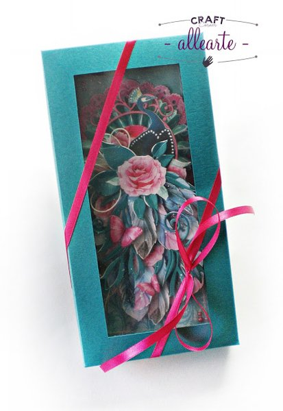 DL size box card turquoise pearl - GoatBox