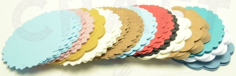 a mix of colorfull small doilies