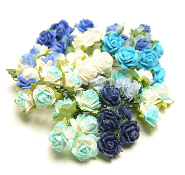 Two tone antique blue paper open roses